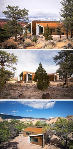 Imbue Design was asked by their clients to design a mini campus, with three separate buildings, on a remote piece of land in the desert in Capitol Reef, Utah.
