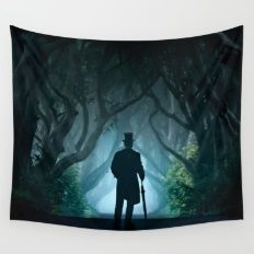 Morning visit in cold Dark Hedges Wall Tapestry