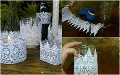 decoraçao casamento customizado | Enfeites de renda em vidros para a decoração do seu casamento