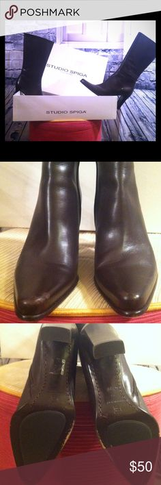 Studio Spiga: ( Authentic ) Made In Italy A gorgeous pair of Studio Spiga boots: Made In Italy!! These boots are in great condition and rarely worn. Other than the marks you can see in the photos these boots are in great condition!! These boots are in 6 1/2 Medium. STUDIO SPIGA Shoes Heeled Boots