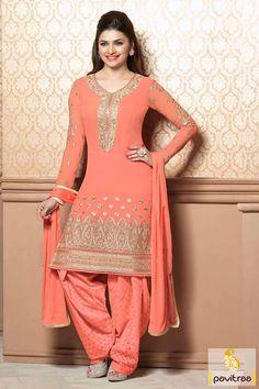 Pavitraa Orange Georgette Party Wear Embroidery Salwar Suit Orange georgette party wear embroidery Salwar Suit is glorious with, embroidery worked, lace patti work, resham work and multi-thread embroidery works. Indian Party Wear, Indian Wedding Outfits, Indian Outfits, Indian Wear, Designer Punjabi Suits, Indian Designer Outfits, Designer Dresses, Salwar Suits, Salwar Kameez