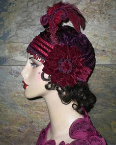 One of a Kind Vintage Roaring 20's Inspired Burnt Velvet Cloche Hat with Feather Plumes by Graceful Butterfly...winner of the 2012 Hatty Award