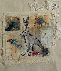 Emily henson hare textile art vintage found fabrics. Hand embroidery. www.facebook.com/bibliboo