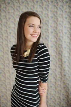 Striped Dress with Statement Necklace  Haley 2015 Model Photo Shoot, Westfield, IN | Photographer : Such Great Heights Photography, Maya Laurent | Model: Haley | Westfield High Sc...