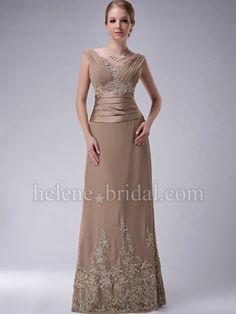 A-Line V-Neck Long / Floor-Length Chiffon Elastic Silk-like Satin Mother of The Bride Dress - US$ 189.99 - Style MD2996 - Helene Bridal