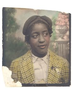 Hand-Colored Photobooth Portrait of a Young Woman, ca 1935...