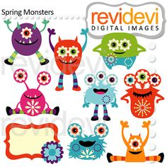 Spring Monsters Clip arts 07499 by revidevi on Etsy, $4.95