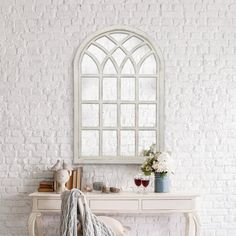 Gallery Solutions Farmhouse Cathedral Windowpane Wall Mirror in Antique White 46 inch Decor, Wood Wall Mirror, Rustic Wall Mirrors, Stair Landing Decor, Living Room Mirrors, Home Altar, Windowpane, White Wood Wall, Mirror Wall