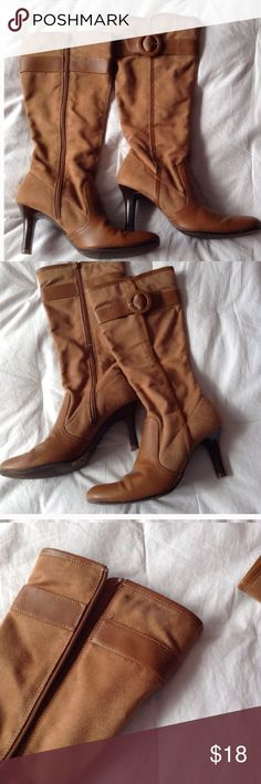 PREDICTIONS FAUX COGNAC BOOTS 6 1/2 NWOT PREDICTIONS COGNAC FAUX LEATHER ROUND TOE BOOTS, SMALL JEAN MARK ON INNER SIDE OF BOOT AS SEEN ON THIRD PIC, 6 1/2 NWOT Predictions Shoes Ankle Boots & Booties