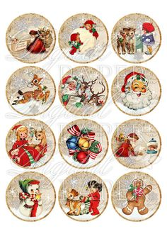 Ho ho ho - inch circles - set of 12 - digital collage sheet - pocket mirrors, tags, scrapbooking, cupcake toppers Christmas Labels, Christmas Hacks, Christmas Graphics, Christmas Clipart, Christmas Paper, Vintage Christmas Cards, Christmas Printables, Christmas Crafts, Christmas Decorations