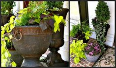 reFresh reStyle - concrete pots.  Paint flat black, let dry.  Paint with Yard and Garden outdoor brown paint. Dilute with water, brush on, wipe off.