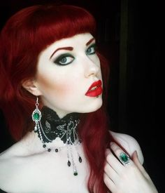 Red Hair Victorian Gothic Make Up Pale Skin