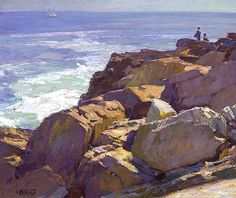 Edward Potthast. 25 x 30. Oil Wow those rocks. So much like the ones in Bréhat. The colours in the shadows are sublime.