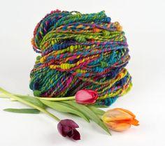 Handspun Art Yarn Rainbow Beehive Yarn Tulip Festival by WoolWench