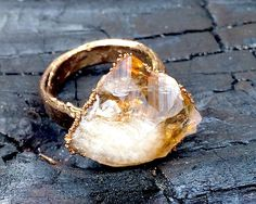 Crystal Ring, Gemstone ring, Citrine Ring, Yellow Gemstone, Avant Garde Ring, Statement Ring, Healing Ring, Gold Ring by NaturefyingJewelry on Etsy