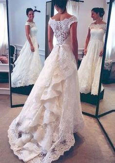 Wedding dresslace wedding dressoff shoulder wedding dresschic style wedding dressbridal gownPD190026