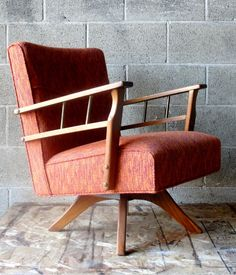 Vintage Upholstered Swivel Chair by Apartment528 on Etsy, $450.00