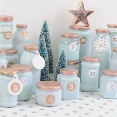 Upcycling advent calendar from empty glasses. Your individual advent calendar in your favorite color Advent Calenders, Diy Advent Calendar, Clay Christmas Decorations, Christmas Crafts, Calendrier Diy, Printable Calendar Template, Christmas Inspiration, Diy Inspiration, Creative Crafts