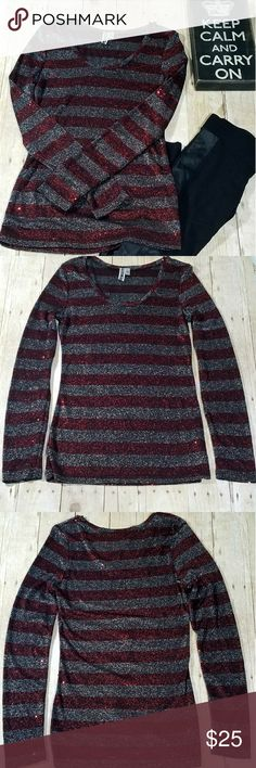 BKE Metallic Red Black Striped Sequin Shirt L BKE long sleeve top size large. In like new condition. Red and black stripes with metallic silver overlay. Absolutely gorgeous. It would be perfect to wear for the holidays! BKE Tops Tees - Long Sleeve