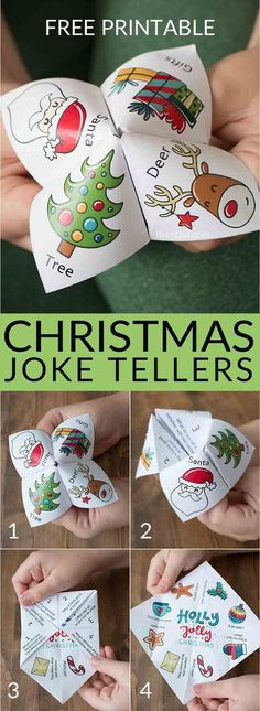 Christmas joke tellers christmas jokes for kids school party christmas party free printable holiday jokes for kids cootie catcher fortune teller christmas fortuneteller joketeller christmasforkids Christmas Jokes For Kids, School Christmas Party, Noel Christmas, Winter Christmas, Christmas 2019, Family Christmas, Kids Christmas Activities, Christmas Decorations Diy For Kids, Childrens Christmas Crafts