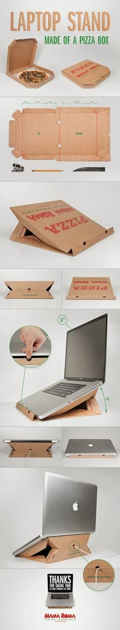 Recycling Laptop stand made of a pizza box                                                                                                                                                                                 Mais