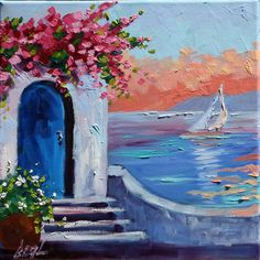 Greece Sunrise Original Scenic Art Oil Painting Landscape Art rbealart Pink Flowers Sailing Crisp Blues