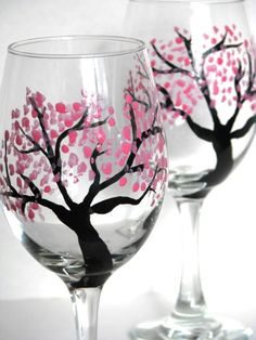 Wine Glasses Hand Painted Cherry Blossoms by PrettyMyDrink on Etsy, $18.00