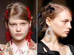 Romantic braided updos that were accented with black ribbon or sparkly bow hair pins.