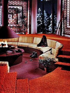"""""""Conversation Pit"""". Fireplace ideas 1976. - ✨Vintage, Arts, Architecture (1900-1980)✨"""