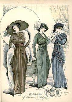 [De Gracieuse] No. 1. Japon voor den namiddag van fluweel-mousseline. No. 2. Receptiejapon voor jonggehuwden. No. 3. Elegante visite-japon (January 1913)