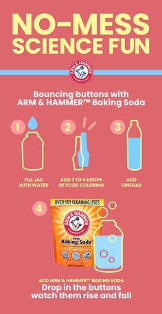 Here's an easy science experiment featuring ARM & HAMMER: Baking Soda that you and your kids can enjoy at home. There's no messy clean-up afterwards. Simply fill a jar with tap water and drop in 4 drops of food coloring. Add cup of vin Preschool Science, Preschool Learning, Science For Kids, In Kindergarten, Kids Learning, Science Fun, Physical Science, Teaching, Preschool Crafts