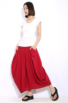casual Watermelon Red Linen Maxi Skirt by YL1dress on Etsy