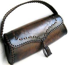 SALE Tooled Brown Tan Leather Bag Laced Tassel Ruska by karenkell