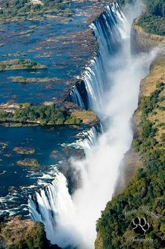 Victoria Falls,The Victoria Falls or Mosi-oa-Tunya is a waterfall located in southern Africa on the Zambezi River between the countries of Zambia and Zimbabwe.