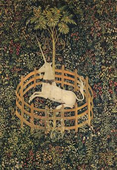 The Unicorn is in Captivity and No Longer Dead  Anonymous, ca. 1500 Medieval Tapestry, Medieval Art, Medieval Symbols, French Cartoons, Unicorn Tapestries, The Cloisters, Unicorn Art, Poster Prints, Art Prints