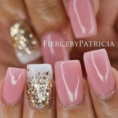 Light pink square nails with white midway gold