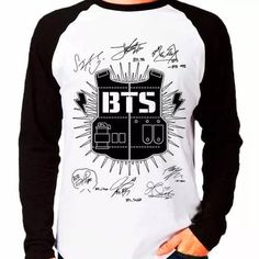 camiseta blusa raglan longa kpop bangtan boys bts autografos