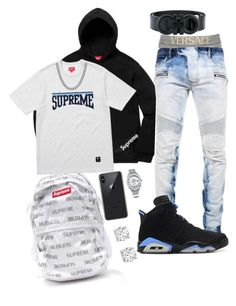 A menswear look from February 2018 featuring mens stretch jeans, versace men's underwear and salvatore ferragamo mens belt. Browse and shop related looks. Dope Outfits For Guys, Swag Outfits Men, Stylish Mens Outfits, Simple Outfits, Winter Mode Outfits, Winter Fashion Outfits, Hype Clothing, Mens Clothing Styles, Nike Outfits