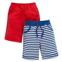 Buy John Lewis Jersey Nautical Bermuda Shorts, Pack of 2, Red/Blue Online at johnlewis.com