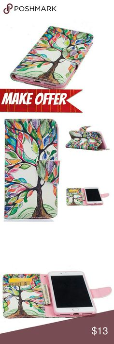 """iPhone 7 (4.7"""") Colorful Tree Case Durable PU leather material,with a soft TPU inner case which will not hurt your phone.  Card Pockets is so convenient that carry ID ,Money and Credit Cards, secures with a magnetic closure.  Can be flipped to be a stand for easy viewing and watch the video, can make your phone more attractive.  FREE GIFT: STYLUS  *BUNDLE WITH OTHER ITEMS TO SAVE & MAKE A OFFER ON BUNDLE!* Accessories Phone Cases"""