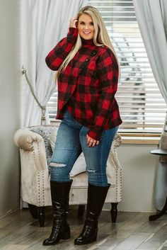 Looking for plus size tops? This curvy girl top is perfect for plus size fall looks. Plus size boutique, curvy women's clothing, curvy boutique tops. Plus size fall fashion, curvy girl tops. Plaid Outfits, Curvy Outfits, Plus Size Outfits, Fall Outfits, Fashion Outfits, Style Fashion, Fashion Tips, Fashion Trends, Plus Size Girls