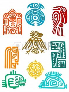 Vector Ancient maya elements and symbols set of religious design. Vector illustationAncient maya elements and symbols set of religious design. Ancient Symbols, Ancient Art, Viking Symbols, Egyptian Symbols, Viking Runes, Native Art, Native American Art, American History, Inka Tattoo