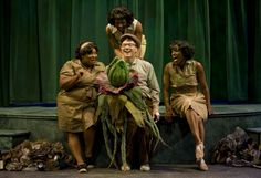 Eva Ruwe, Reneisha Jenkins, Chadae McAlister and Jonathan Lee Cunningham in the monster musical hit LITTLE SHOP OF HORRORS at Theatre at the Center - www.theatreatthecenter.com