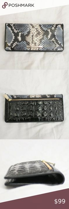 *NWT* BRAHMIN~ CHARCOAL TOPSAIL LEATHER ADY CLUTCH WALLET~ $135