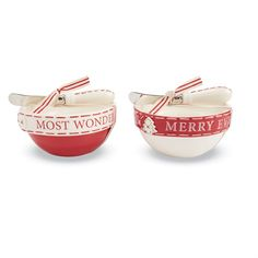 Two piece ceramic dip bowl set features painted accent stripe around outer rim and debossed 'MERRY EVERYTHING AND HAPPY ALWAYS' or 'IT'S THE MOST WONDERFUL TIME OF THE YEAR' sentiment. Arrives with metal spreader with ceramic handle.