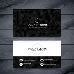 Black polygonal business card Free Vector