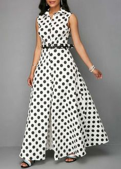 Rosewe Women Dress Shirt White Polka Dot Button Up Sleeveless Maxi Button Up Keyhole Back Dot Print Dress Button Up Maxi Dress, Dot Dress, Dress Shirt, African Fashion Dresses, Fashion Outfits, Frack, Western Dresses, Dress Patterns, Blouse Designs