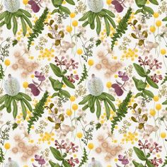 With an earth palette combining smudgy greens, soft crumbly browns and sunshine yellow, Louise began the design with a series of delicate hand painted botanical motifs using foraged native plants and flowers Native Australians, Native Plants, Nativity, Flora, Palette, Delicate, Hand Painted, Colours, Wallpaper