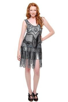 Unique Vintage 1920s Amanda Flapper Style Black Hand Beaded Fringe Flapper Dress (14738-058) van New Style Exports - Thi...Price - $198.00-2tIZqw4o