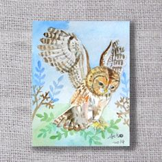 ooakOwl original ACEO painting buy 3 get 1 free by asho on Etsy, $4.50